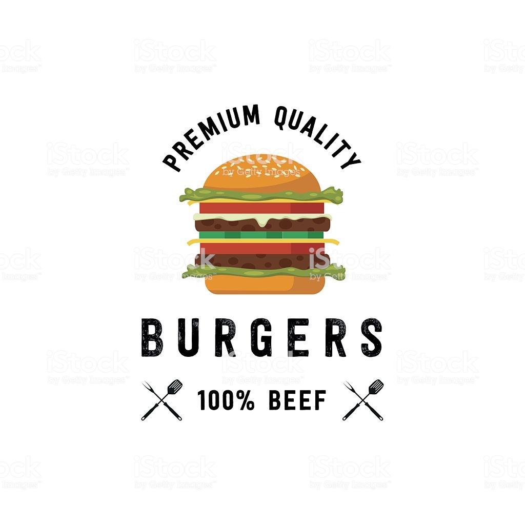 Hamburger premium quality, 100% beef vector